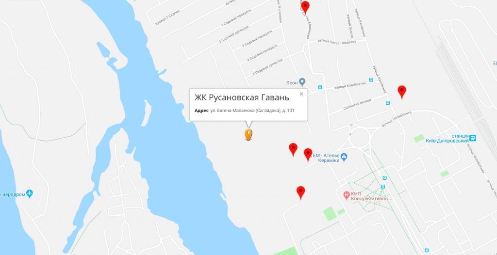 Русановская Гавань на карте